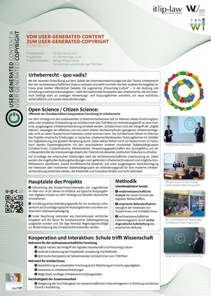 APPL, Clemens / HOMAR, Philipp: Posterbeitrag 1: Das Forschungsprojekt im Überblick, IP-DAY 29.9.2015, Wien (Österreich).